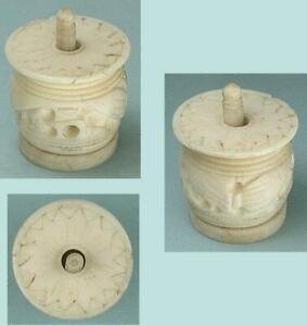 Antique Carved Bone Canton Thread Barrel * Chinese / English Import * Circa 1840