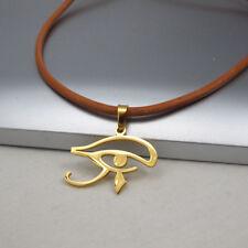 Oro Acciaio Egizio Egitto Occhio Pendente Collana in Pelle Marrone Chiaro
