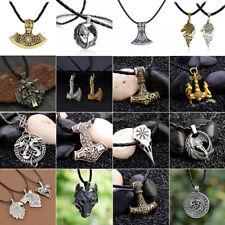 Herren Nordic Viking Anhänger Leder Kette Raven Mythos Thors Hammer Halskette