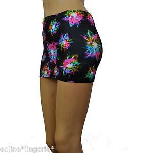 Mini Skirt Micro Short Party Black UV Glow Neon High Waist Stretch Club CS144