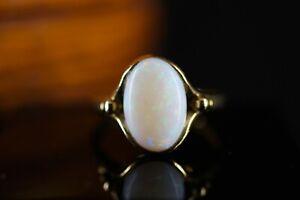 333 Gelbgold Ring Opal Weiss Original Designe schlicht Solitär großer