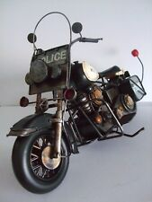 Police Motorbike Tin Plate Model  Hand Painted / Black / Ornament /Gift  no 2