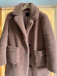 Next Dusky Pink Teddy Bear Coat Size 14