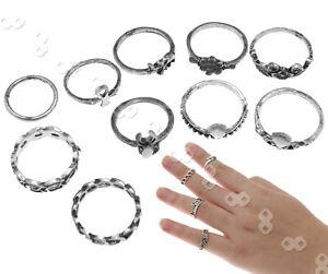 10er Ringe Fingerring Fingerspitzenring Knöchelring Obergelenkring Silber