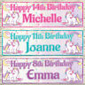 2 PERSONALISED DOUBLE UNICORN BANNERS - ANY NAME/ANY AGE - 3 COLOURS