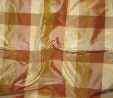 "Silk Taffeta Fabric - Rust Gold & Brown Check 18""x27"" remnant"