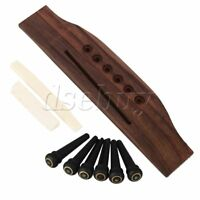 6 String Rosewood Bridge Bone Saddle & Nut 6pcs End Pins for Acoustic Guitar