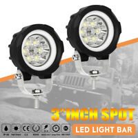 Pair 3inch SPOT DRL LED Work Light Round Fog Lamp Offroad Driving 4x4 Truck 60W