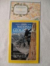 National Geographic April 1996 Storming the Tower Rock Climbing JERUSALEM MAP
