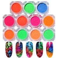 Neon Powder Glitter Summer Theme Chrome Pigment Dust Nail Decoration Designs