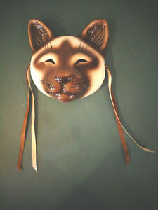 SIAMESE CAT CLAY ART SMALL FACE MASK WALL DECOR SIGNED