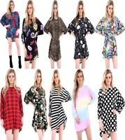 Ladies Oversized Dipped Hem Baggy Batwing Loose Top Womens Printed Tunic Dress