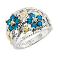 Landstrom's® Black Hills Gold on Sterling Silver Blue Zircon Ring Size 4-10