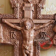 """Jesus on the Cross (№2) Wooden Orthodox  religious Carved Crucifix (10"""" x 6"""")"""