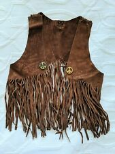 Children's Size 4? Vintage 60's Hippie Suede Leather Fringed Vest Peace Sign