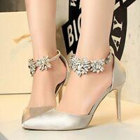 Sexy Point Toe High Heel Stiletto Shoes Rhinestone Pumps Women's Dress Wedding