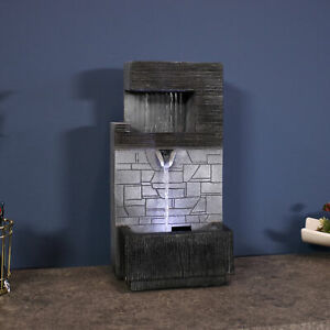 Sunnydaze Modern Tiered Brick Wall Tabletop Water Fountain Feature w/  LED -