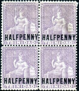 TRINIDAD-1879-82 ½d Lilac REVERSED WATERMARK.  A mounted mint block of 4 Sg 78x