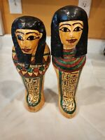 "Egyptian Pharaoh Queen mummy Dolls Collectible Figures 12"" 11"" Tall Wood"