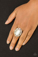 Paparazzi Jewelry floral filigree white moonstone flex Ring nwt