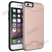 Armor Card Holder Wallet Stand Hybrid Heavy Duty Case Cover for Various PHONES Rose Gold for iPhone 6 / 6s