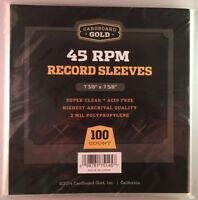 """(500) New! CBG 45 RPM RECORD POLY SOFT SLEEVES, 5/100ct Packages 7 3/8 x 7 5/8"""""""