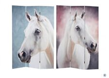 Paravento Separe' Divisorio in legno Doppia Faccia Figura Cavallo bianco