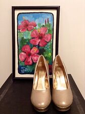 Rampage Womens Heels Champagne / Gold Shoe Sz 7.5