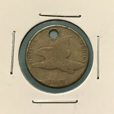 1857 1C Flying Eagle Cent: Holed