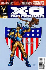 X-O Manowar #23 VARIANT signed by Tom Raney SUPERMAN HOMAGE NM VALIANT