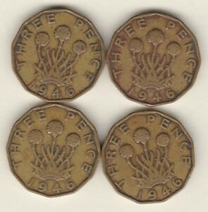 FOUR KEY DATE 1946 BRASS THREEPENCE COINS IN FINE CONDITION