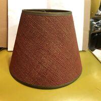 Vintage Mid Century Modern Red Burlap Lamp Shade Clip On