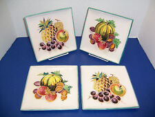 "Decorative 4 Square Salad Dessert Plates 7.5"" Fruit Pineapple Hand Painted Italy"