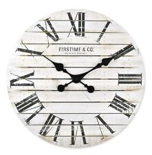 Firstime Sniplap White Antique Wall Clock Weathered Barn Wood