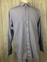 Charles Tyrwhitt Blue White Striped Button Down Dress Shirt Fit LS Mens 16.5/35
