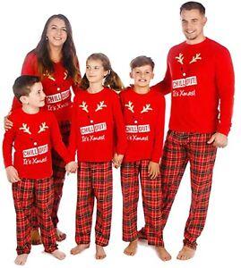 Family Matching Christmas Pyjamas Chill Mens Ladies Kids Teens Christmas Pyjamas