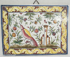 Ceramic Tile Trivet Made in Portugal Bird and Castle Blue and Yellow