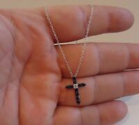 925 STERLING SILVER CROSS NECKLACE PENDANT W/.50 CT BLACK & WHITE LAB DIAMONDS