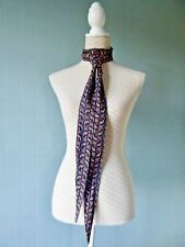 Navy skinny scarf paisley mod sixties thin biker tie blue bow long thin unisex