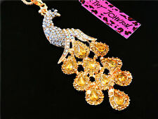 Betsey Johnson Yellow Crystal Lovely Peacock Pendant Necklace Sweater Chain