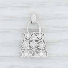 0.17ctw Diamond Purse Pendant - 18k White Gold Openwork Hand Bag Charm