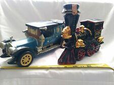 New listing Ezra Brooks Train Rolls Royce car 1912 collectible vintage decanters ceramic