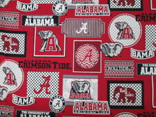 ALABAMA CRIMSON TIDE UNIVERSITY BLOCKS CIRCLES COTTON FABRIC FQ