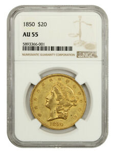 1850 $20 NGC AU55 - Liberty Double Eagle - Gold Coin - Popular Issue