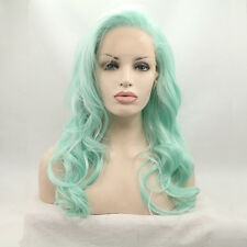 Light green Lace Front wig Makeup hair long mermaid curly fashion Women's Wigs