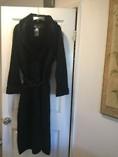 Jessica Holbrook Womens Duster Knit Wool Black Detachable Collar Jacket Size M