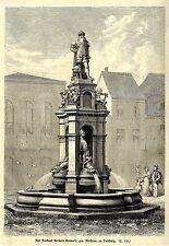 Das Denkmal Gerhard Kremer's gen.Merkator zu Duisburg * antique print 1879