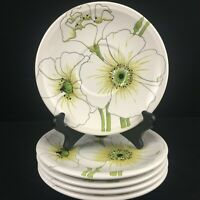 Set of 5 VTG Saucer Plates by Metlox Matilija Poppytrail Vernon Floral 1074 USA