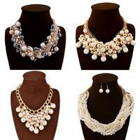 Fashion Gold Chain Big Resin Pearl Cluster Chunky Choker Statement Bib Necklace