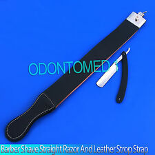 Barber Shave Straight Razor and Leather Strop Strap